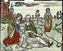Lidwina van Schiedam: boekillustratie, 1498, uit: Johannes Brugmans Lidwina-Biografie